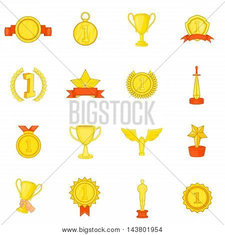 Trophy award icons set in cartoon style. Sports achievements set collection vector illustration