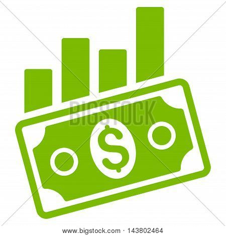 Sales Bar Chart icon. Vector style is flat iconic symbol with rounded angles, eco green color, white background.