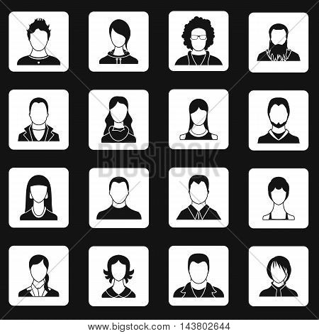 Avatar icons set in simple style. Male and female characters set collection vector illustration
