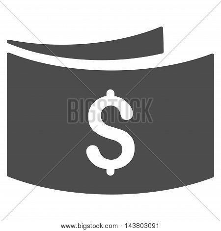 Banknotes icon. Vector style is flat iconic symbol with rounded angles, gray color, white background.