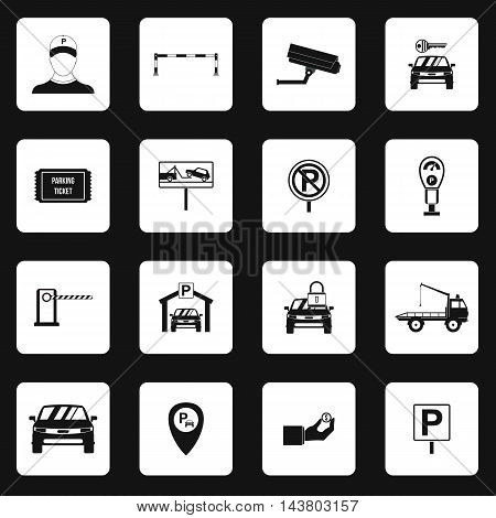 Parking icons set in simple style. Parking elements set collection vector illustration
