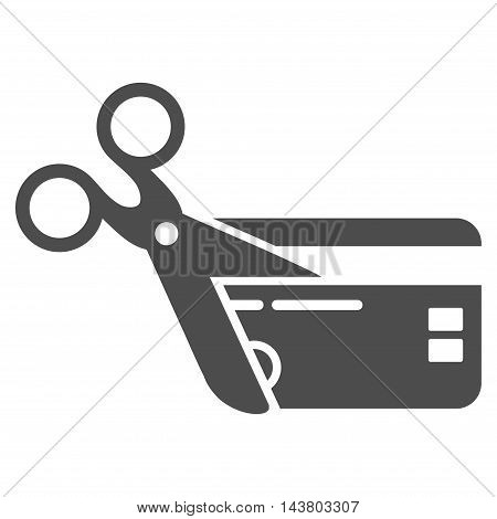 Cut Credit Card icon. Vector style is flat iconic symbol with rounded angles, gray color, white background.