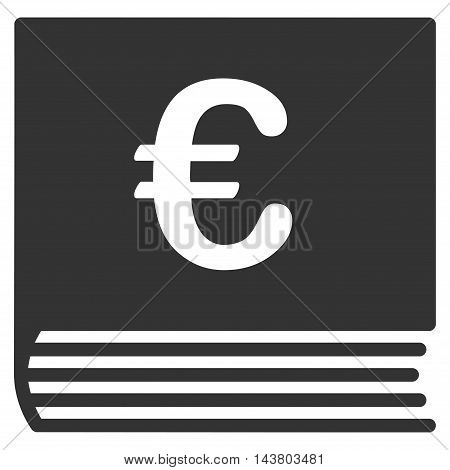 Euro Sales Book icon. Vector style is flat iconic symbol with rounded angles, gray color, white background.