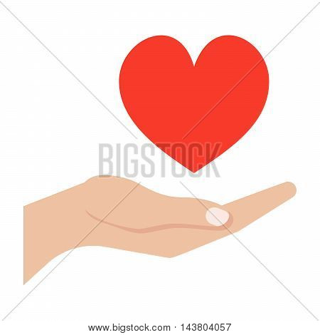Love giving concept with hand and heart.