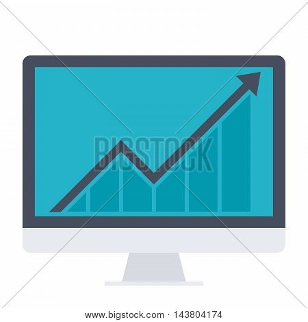Business Progress Concept with computer and growth chart.