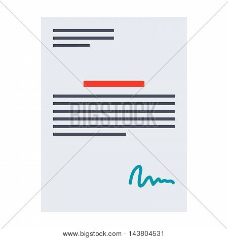 Illustration business contract with signature in flat style.