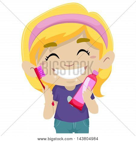 Vector Illustration of Little Girl holding Toothbrush and Toothpaste