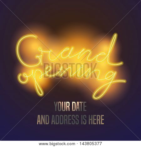Grand opening vector banner, illustration, background. Design element with electric light sign with original lettering for opening event, ceremony, advertising