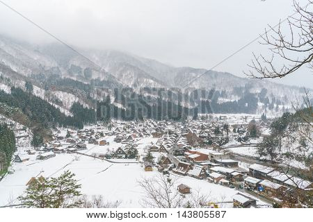 Winter Of Shirakawago with snow falling , Japan