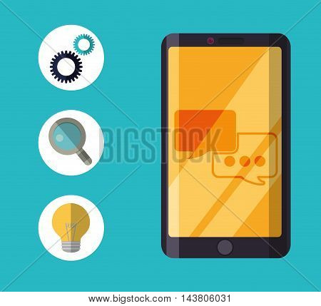smartphone gear lupe bulb customer service technical service call center icon set. Colorful and flat design. Vector illustration