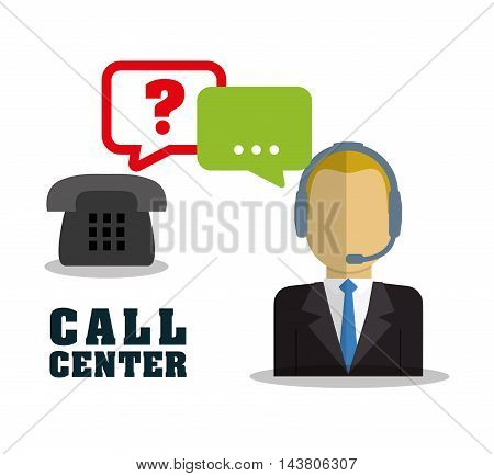 man headphone male bubble customer service technical service call center icon set. Colorful and flat design. Vector illustration