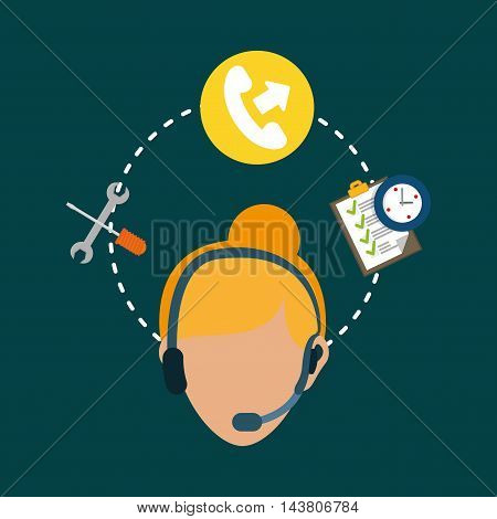 woman headphone tools customer service technical service call center icon set. Colorful and flat design. Vector illustration