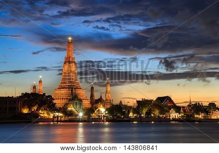 Wat Arun Buddhist religious places in twilight time Bangkok Thailand