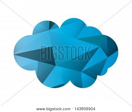 flat design abstract single cloud shape icon vector illustration