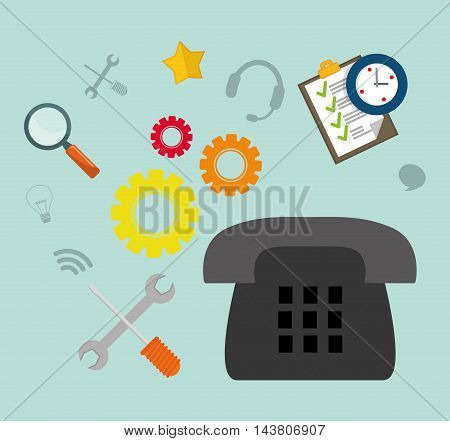phone gear checklist tools customer service technical service call center icon set. Colorful and flat design. Vector illustration