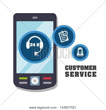 cellphone mobile headphone customer service technical service call center icon set. Colorful and flat design. Vector illustration