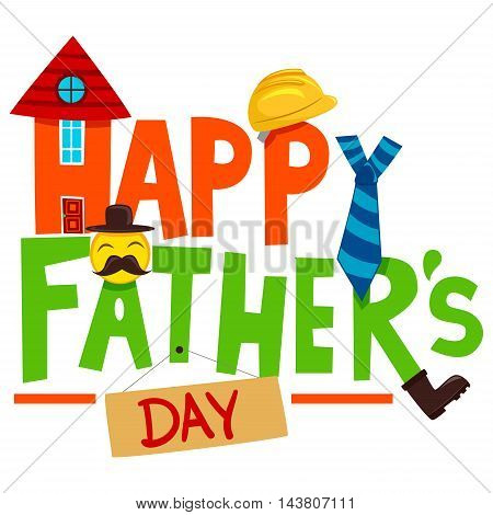 Vector Illustration of Happy Fathers Day Greeting Elements
