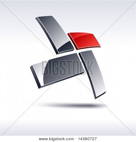 Abstract modern 3d geometric emblem. Vector.