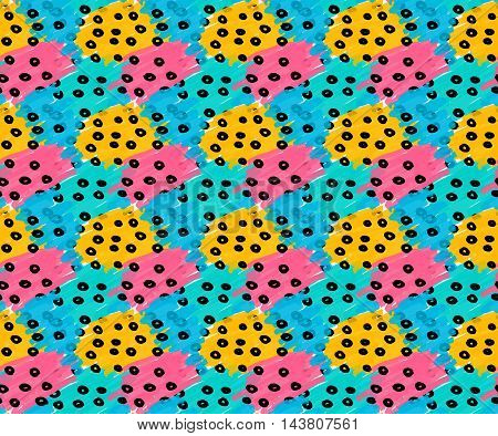 Marker Drawn Blue Pink Yellow Patches With Black Dots