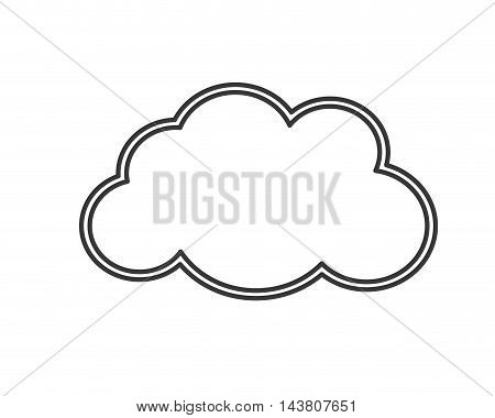 flat design single cloud shape icon vector illustration