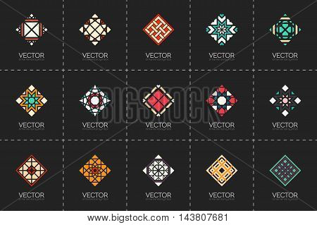 Geometric logo template set. Vector rhombic arabic ornamental symbols