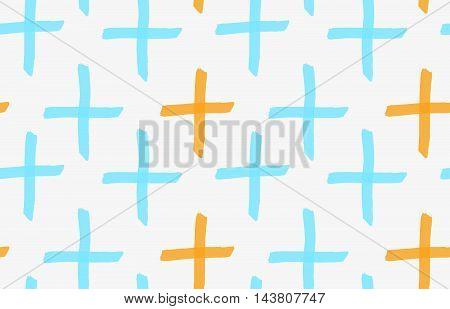 Marker Drawn Orange And Blue Crosses