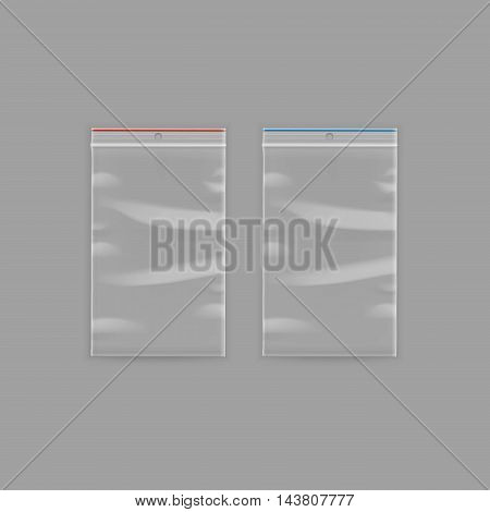 Vector Set of Sealed Empty Transparent Plastic Zipper Bags Close up Isolated on Background