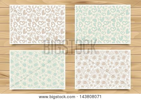 Set Of Seamless Patterns On Wood Board.