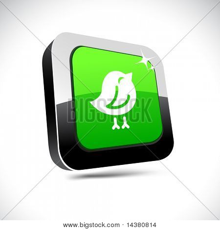 Bird metallic 3d vibrant square icon.