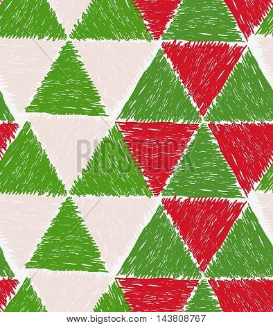 Pencil Hatched Green And Red Triangles Forming Hexagons
