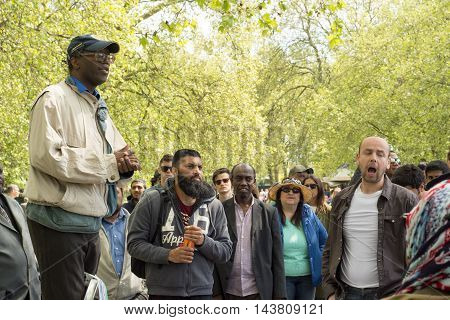 LONDON - MAY 15: Hyde Park Speakers Corner during discussion on May 15 2016 London.
