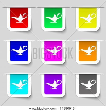 Alladin Lamp Genie Icon Sign. Set Of Multicolored Modern Labels For Your Design. Vector