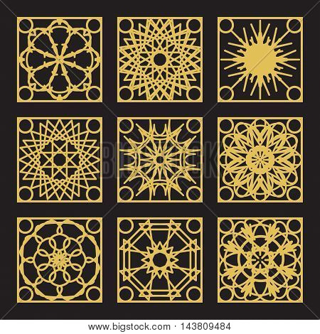 Patterns set with luxury arabic geometric ornaments. Vector collection