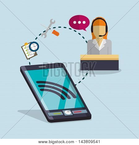 smartphone woman headphone tools customer service technical service call center icon set. Colorful and flat design. Vector illustration