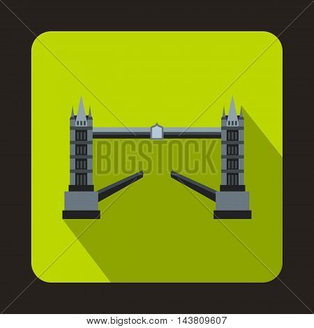 Tower Bridge, London icon in flat style on a green background
