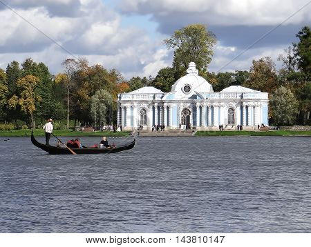 TSARSKOYE SELO, RUSSIA - SEPTEMBER 21, 2012: Photo of Venice gondola on the background of the Pavilion