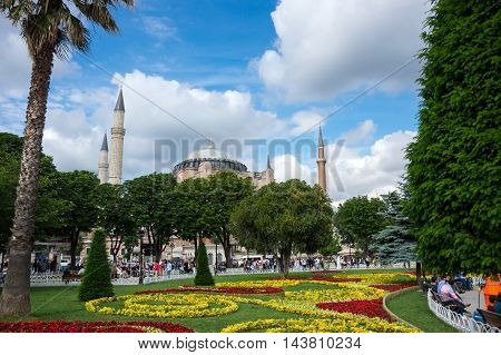 ISTANBUL TURKEY - JUNE 19 2015: Ayasofia was a Greek Orthodox Christian patriarchal basilica (church) later an imperial mosque and now a museum in Istanbul Turkey