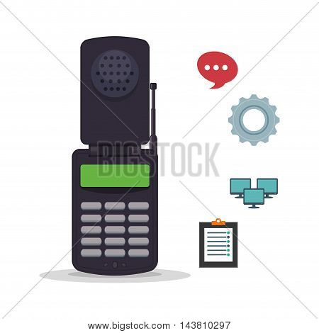cellphone mobile customer service technical service call center icon set. Colorful and flat design. Vector illustration