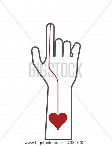 flat design hand index finger icon vector illustration