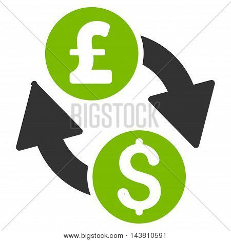 Dollar Pound Exchange icon. Vector style is bicolor flat iconic symbol with rounded angles, eco green and gray colors, white background.