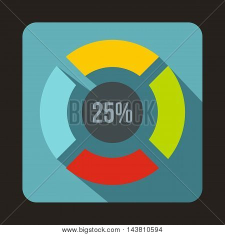 Web preloader, 25 percent icon in flat style on a baby blue background