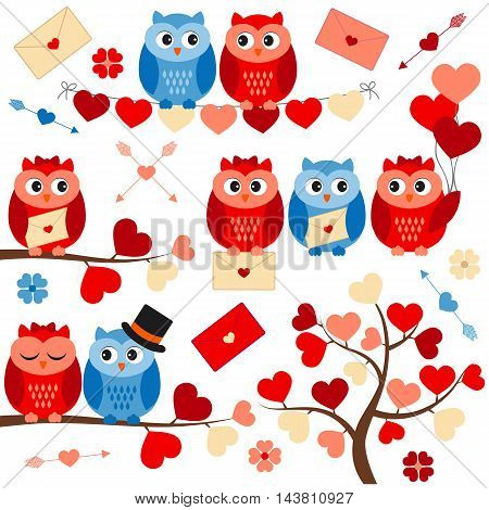 Vector love owls with hearts branches and tree