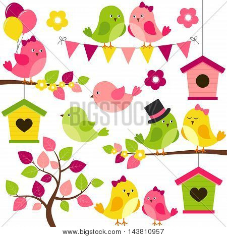 Vector summer set with birds branches leaves birdhouse and tree