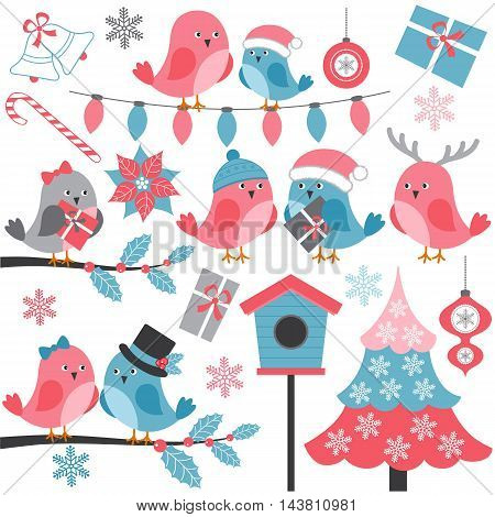 Vector winter birds with holly Christmas tree branches gifts and birdhouse
