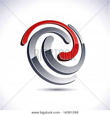 Abstract modern 3d swirl logo. Vector.
