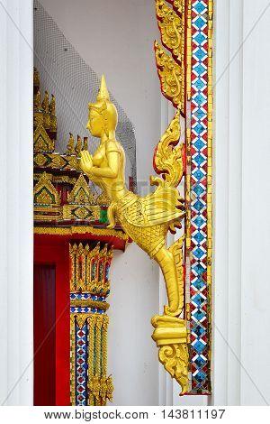 Right Half-Bird Half-Women Statue in Temple, Thailand Architecture