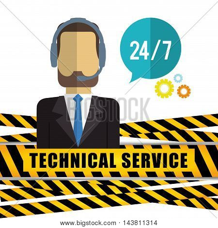 man headphone male barrier customer service technical service call center icon set. Colorful and flat design. Vector illustration
