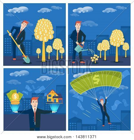 Set of businessman or broker striving and achieving success in business. Vector money-making or startup concepts design. Finance strategy and marketing illustration