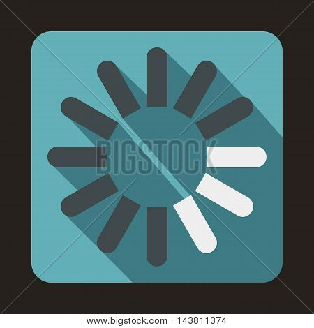 Loading circle icon in flat style on a baby blue background