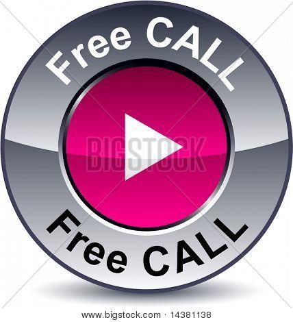 Free call round metallic button. Vector.